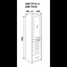 Шкаф одностворчатый, верх – дверь металл и 2полки, низ - 4 выдвижных ящика